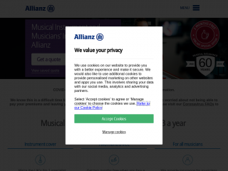 allianzmusicalinsurance.co.uk screenshot