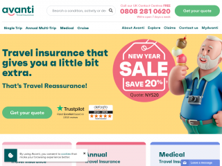 avantitravelinsurance.co.uk screenshot