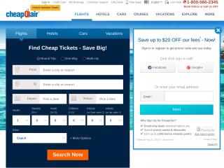 cheapoair.com screenshot