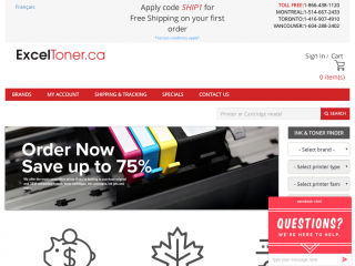 exceltoner.ca screenshot