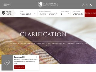 macdonaldhotels.co.uk screenshot