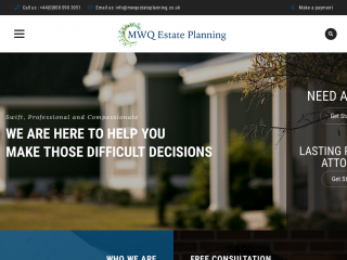 mwqestateplanning.co.uk screenshot
