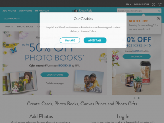 snapfish.co.uk screenshot