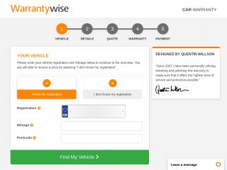vehicle.warrantywise.co.uk screenshot